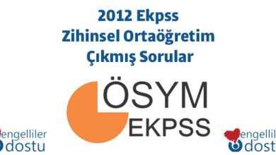 Photo of 2012 Ekpss Zihinsel Ortaöğretim Çıkmış Sorular
